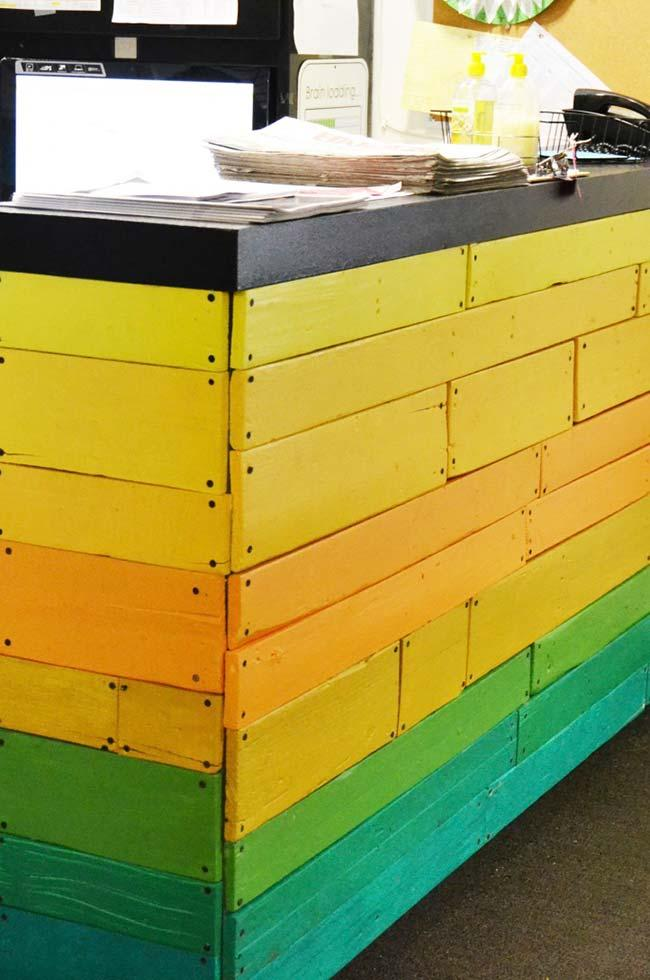 Pallets with vibrant colors