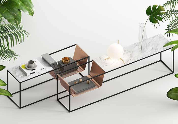 Modern and bold design furniture on the sophistication of Carrara marble