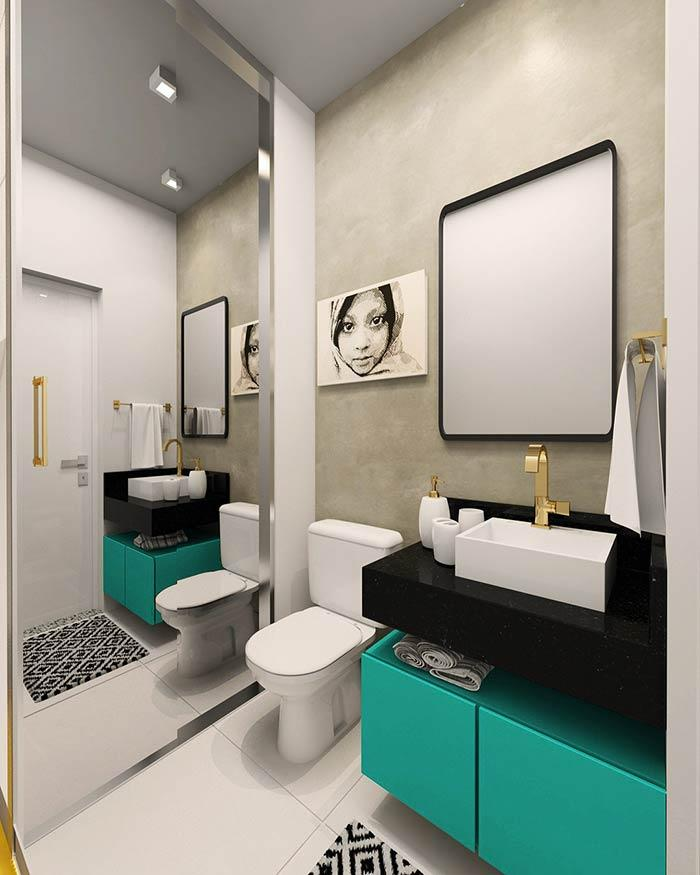 Bathroom cabinet with color in the decoration