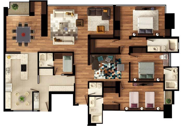 Floor plan of 3 bedrooms and room for maid