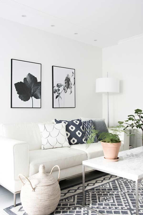 Shades of gray scale on the white sofa
