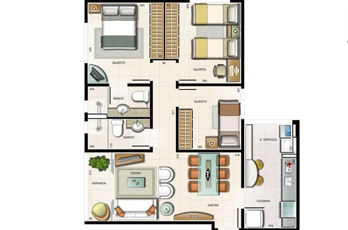 Trend of the current apartment plans: one suite, two bedrooms and other integrated environments