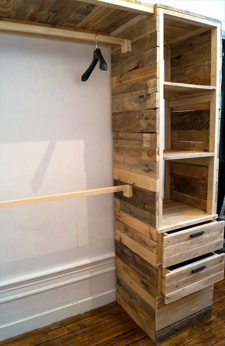 pallet wardrobe with drawers