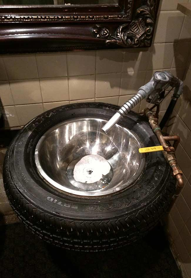 Stylized sink with tire