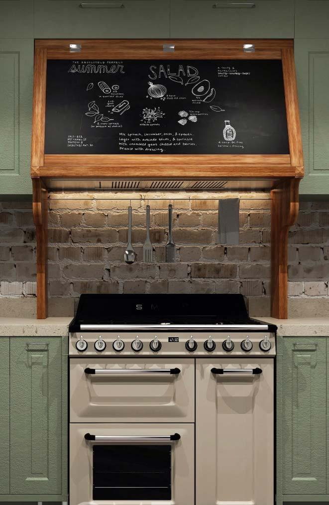 Keep your recipes in sight with chalk and a blackboard above the stove