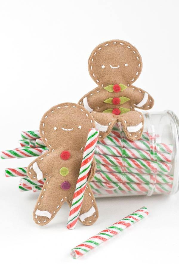 Gingerbread distributing candy to children