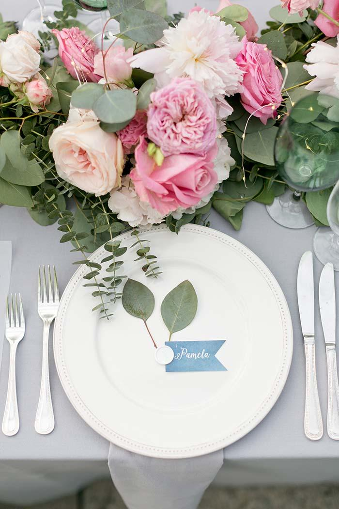 White tableware for wedding