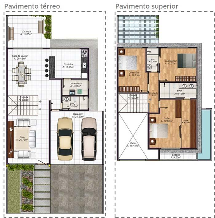 Floor plan with 3 bedrooms and ground floor with integrated environments