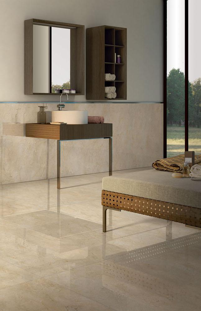 The Crema Marfil marble can be used in any home environment