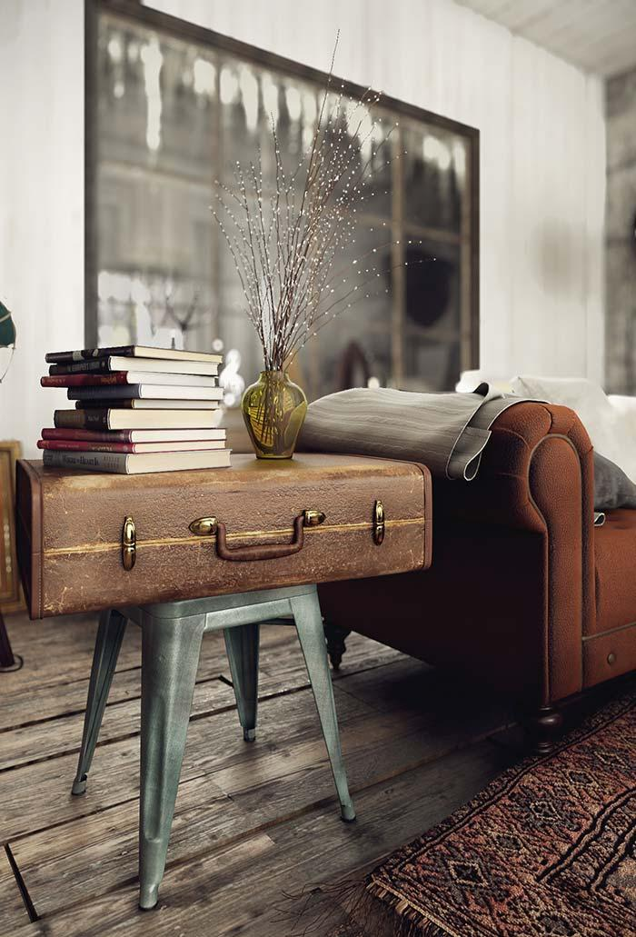 Side table made with old suitcase