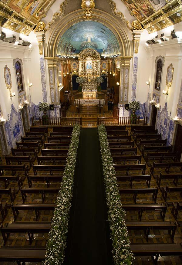 Use flowers to add a colorful touch to the church