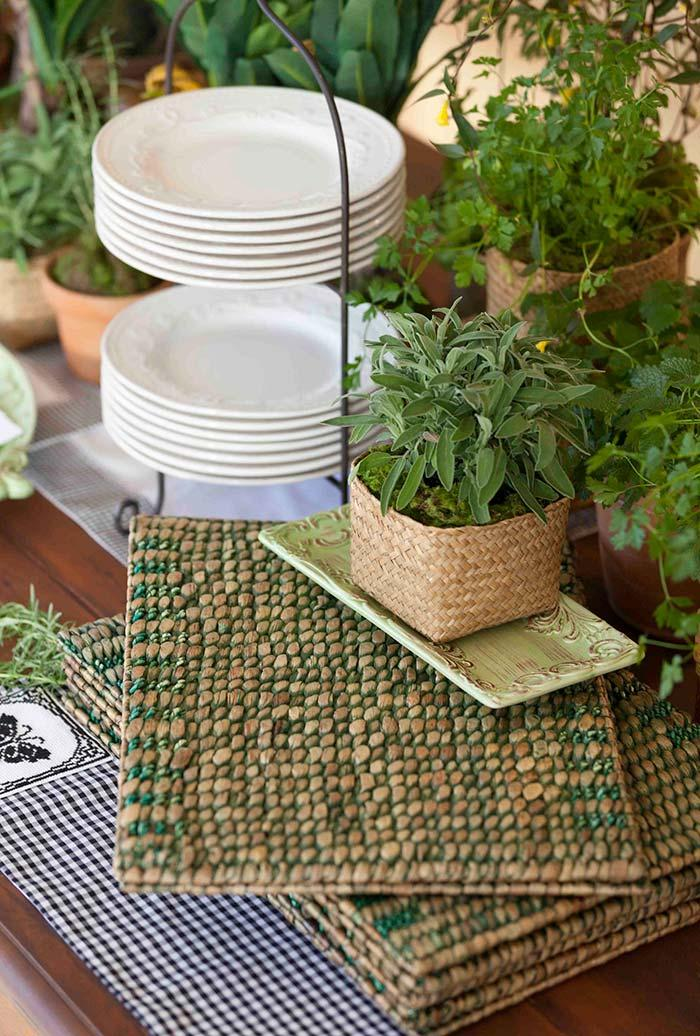 Aromatic plants and herbs in barbecue decoration