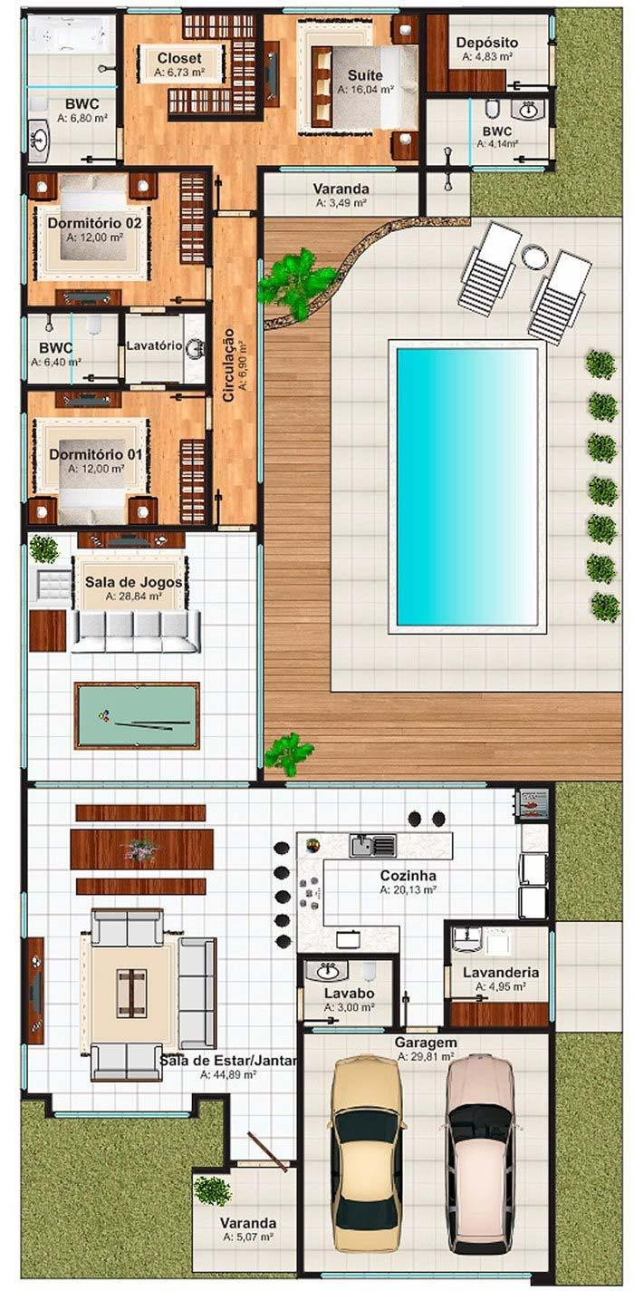 House plan with three bedrooms, swimming pool and games room