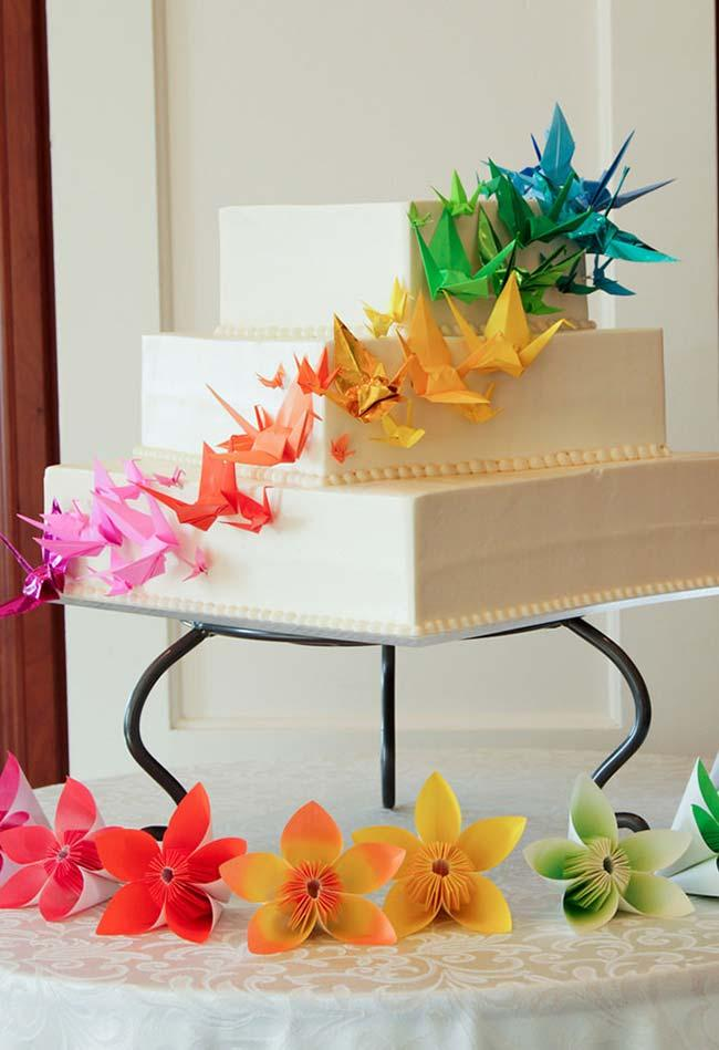 Wedding cake decorated with origami
