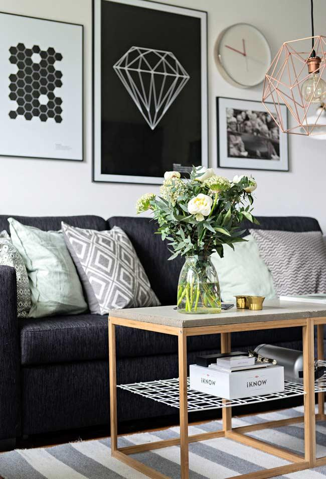 Sofa with cushions and geometric prints