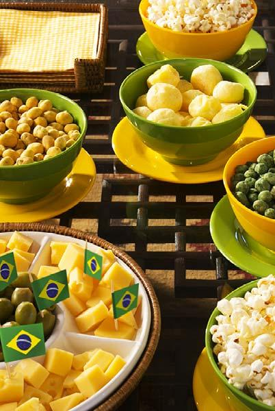 Full table of green and yellow snacks