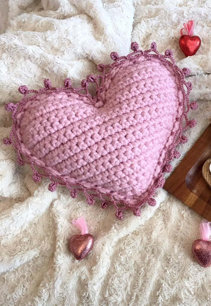 Heart Crochet Cushion Cover