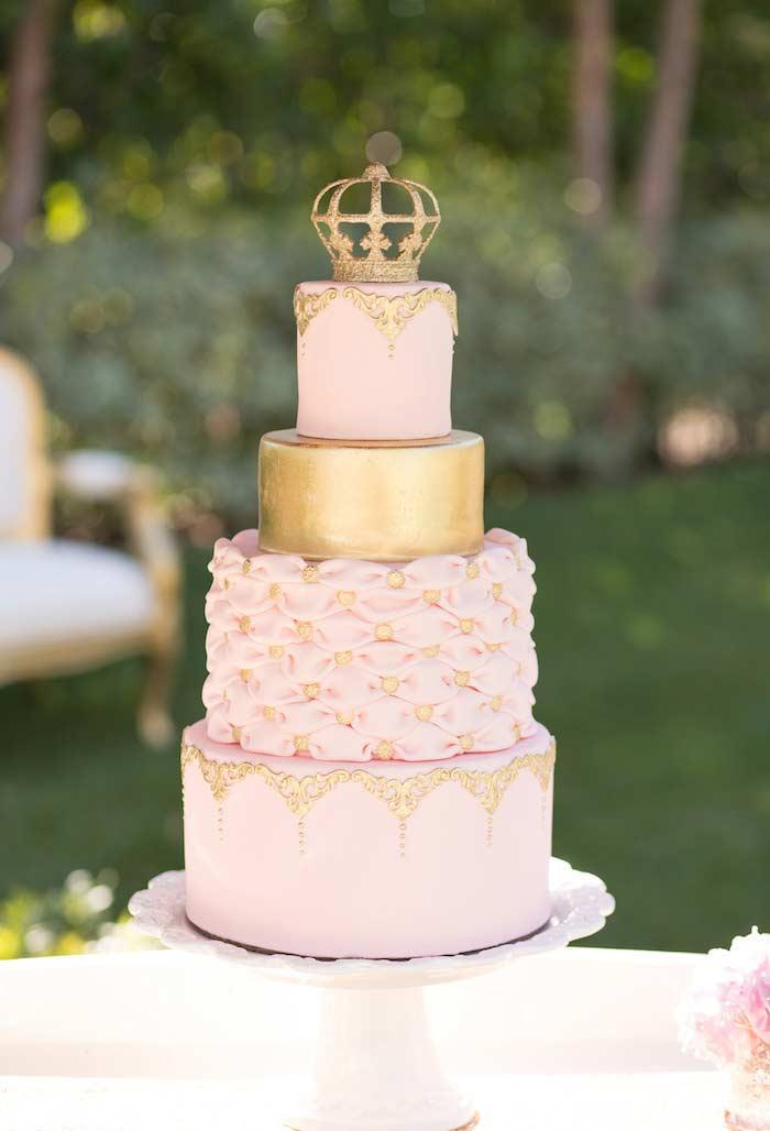 Four layer pink cake