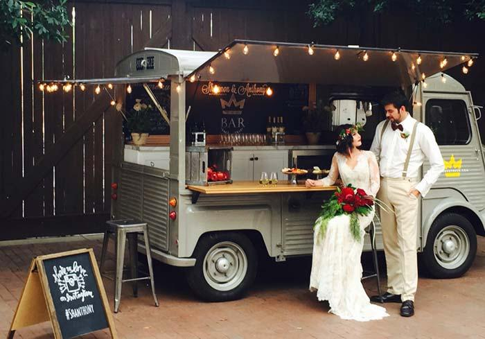 Bar on wheels to serve guests