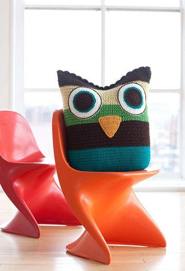Colorful striped crocheted owl cushion