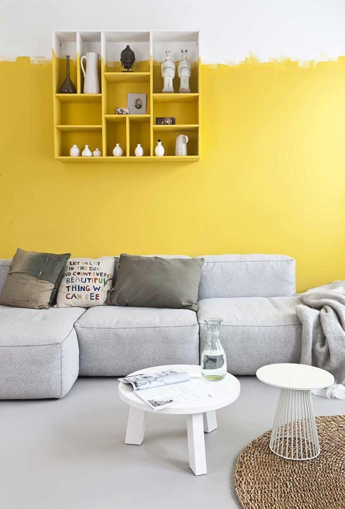Half wall painting in yellow color