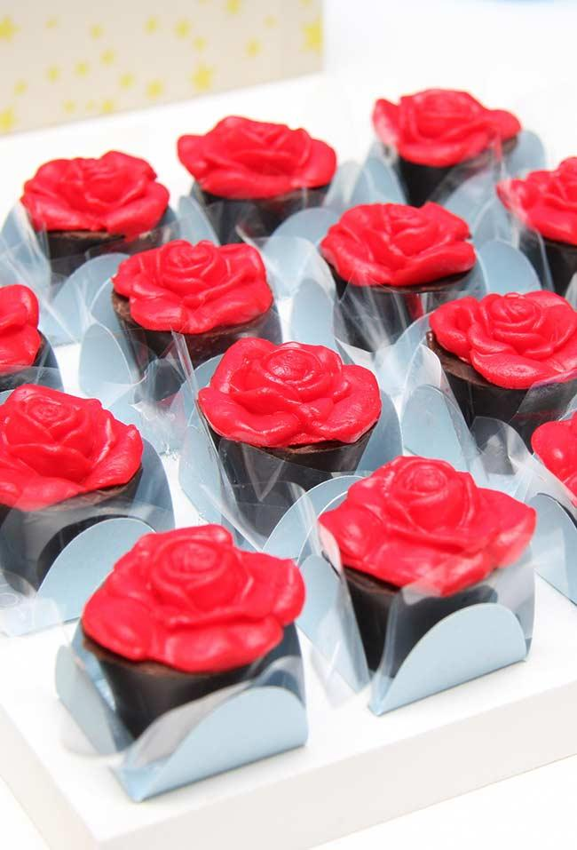 Edible rose on the top of the chocolates