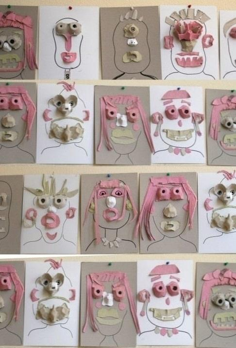 Drawing in high relief with boxes of eggs