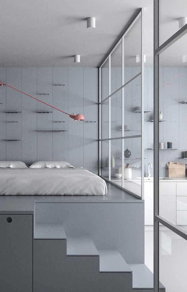 Glass partition to separate the bedroom from the house
