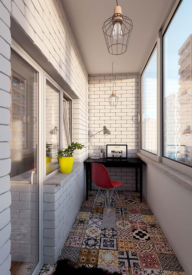This small balcony is on the retro style floor