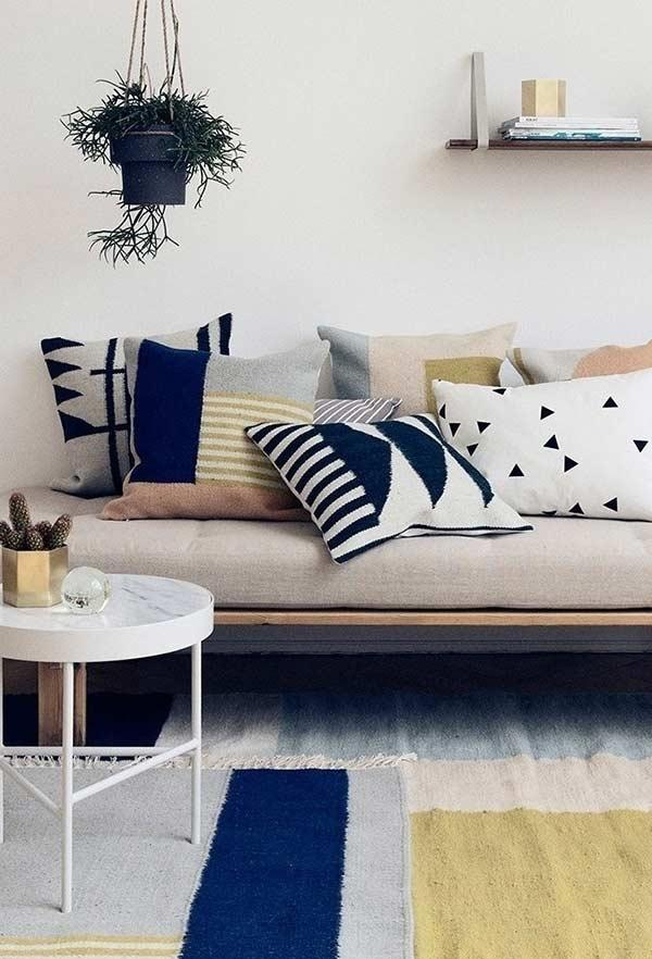 Different textures and fabrics for each cushion cover