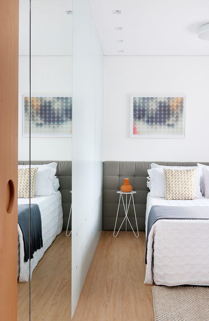 Room with upholstered headboard