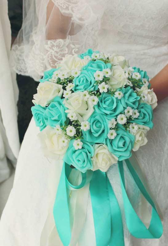 Bouquet of flowers with blue Tiffany