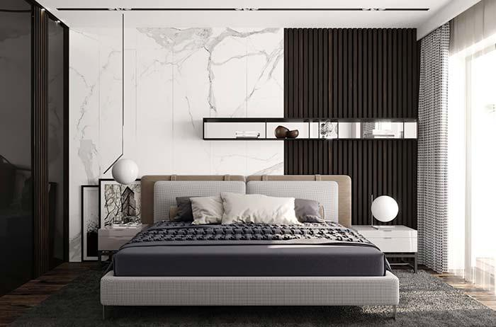 Unique and sophisticated look with white marble in the double bedroom
