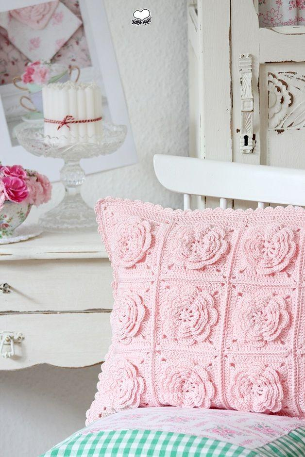 Romantic Crochet Cushion Cover