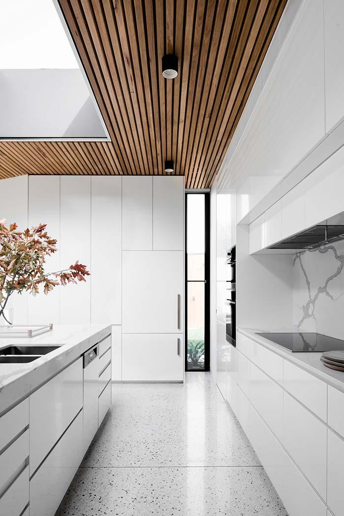 Wood lining to contrast with white