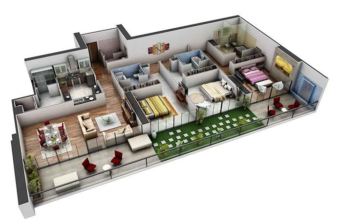 3D apartment plan with three bedroom suites