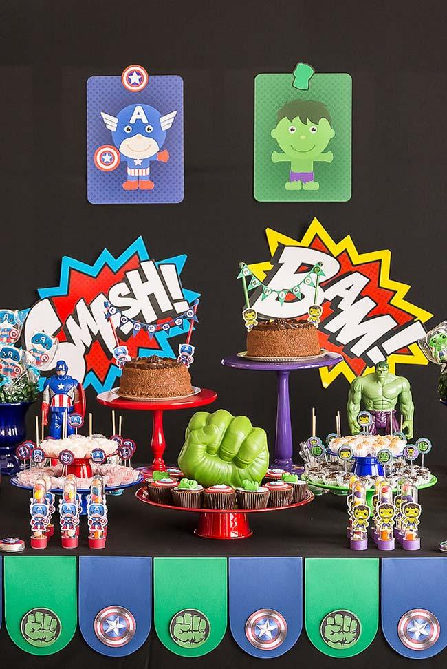 Avengers party table decoration