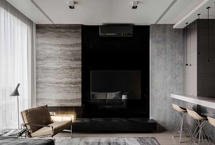 Contemporary living room with plaster molding