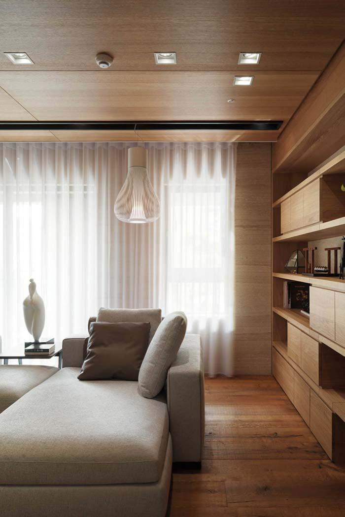 Wooden lining in living room