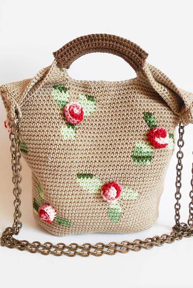 Crochet bag in shades of brown