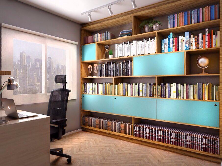Turquoise blue color in home office decor