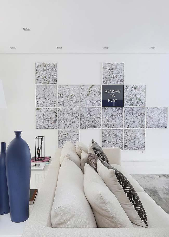 Wall of frames with metropolitan map