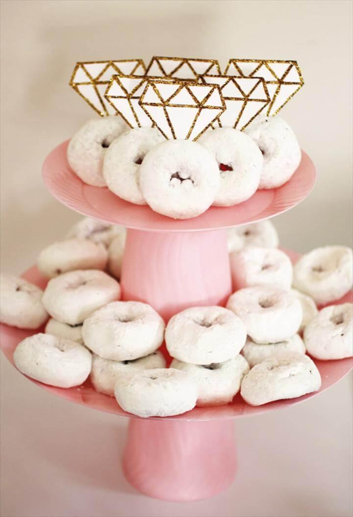 Simple Engagement Party: Donuts Decorated with Engagement Rings
