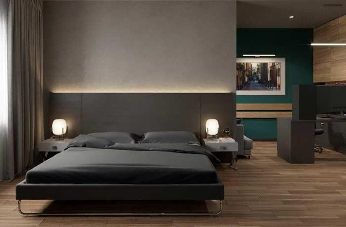 LED strip to highlight the wooden headboard