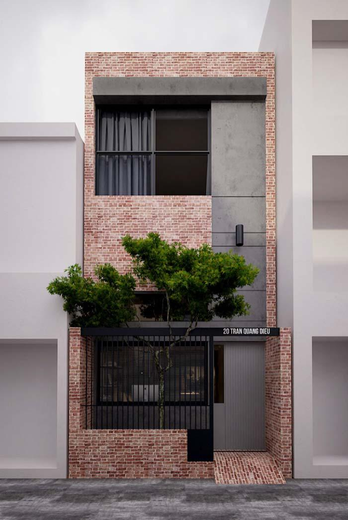 Brick facade with a leaked wall
