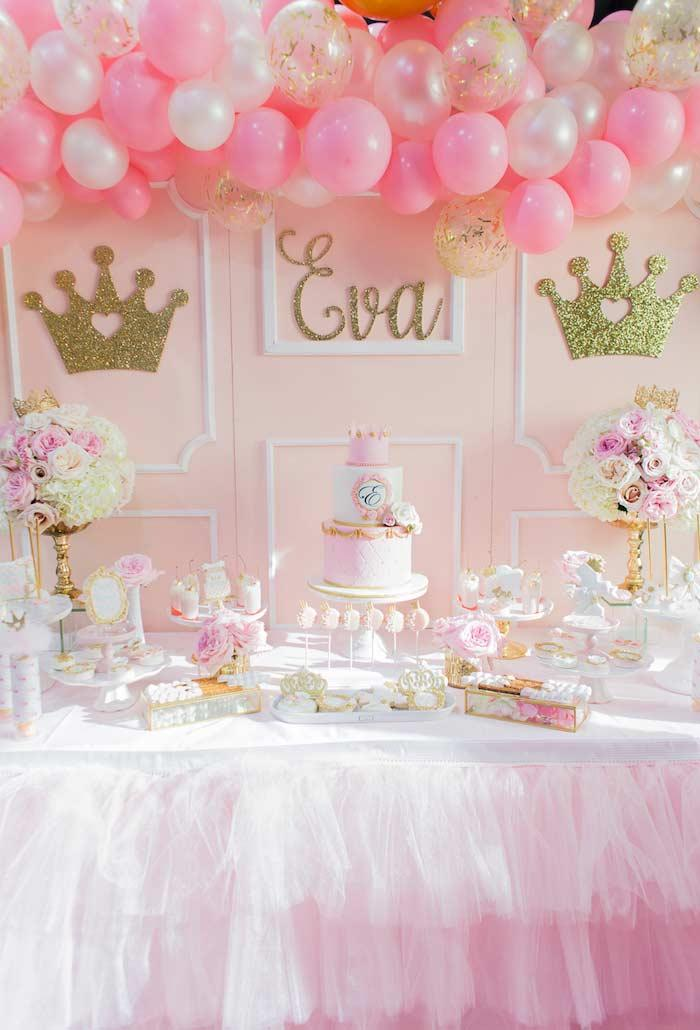 Princess party decoration with tulle skirt