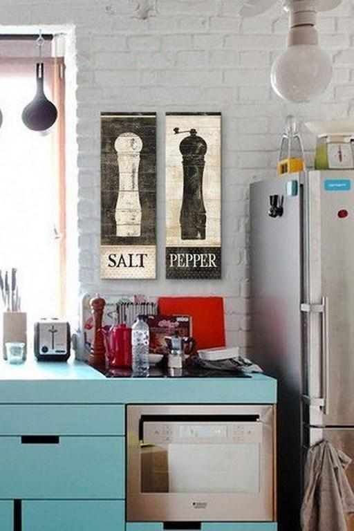 Kitchen comics painted directly on wood