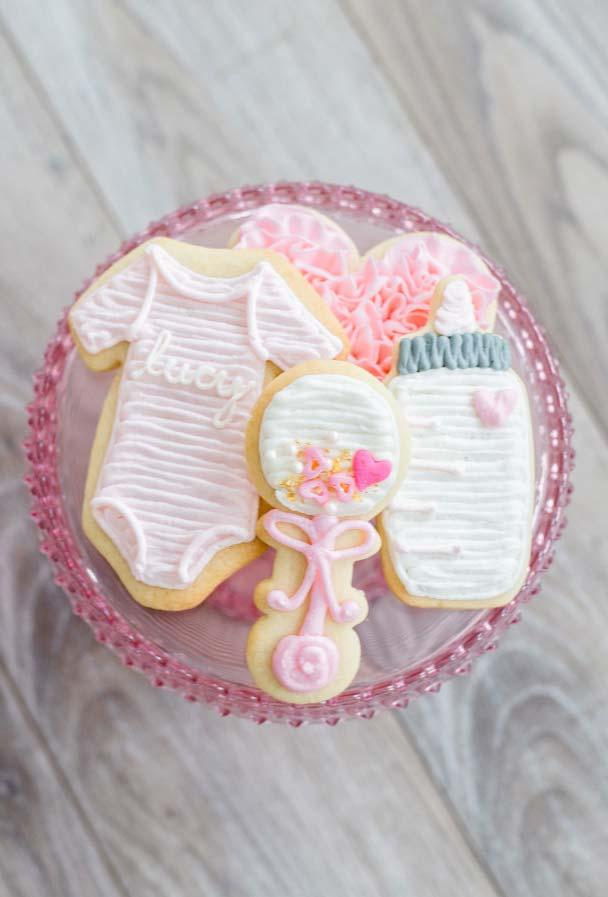 Decorated buttery biscuits