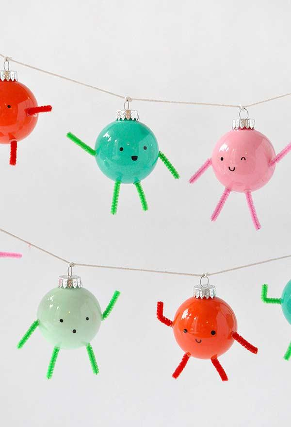 Fun and friendly Christmas ornaments made from Christmas balls