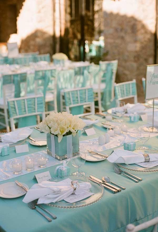 Fabrics in Tiffany blue color for wedding decoration